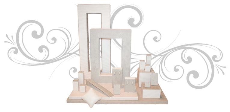 Escaparate para joyería Square, compuesto por dos traseras, 1 base, 4 volúmenes y 16 piezas de taquería