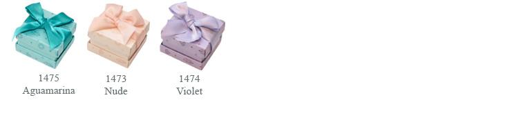 Tres combinanciones de color para las cajas de cartón de joyería Florencia Diamonds