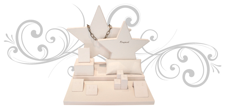Set de expositores para joyería con forma de estrella y 8 piezas de tarquería